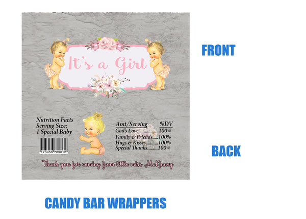 Baby Girl Candy Bar Wrappers