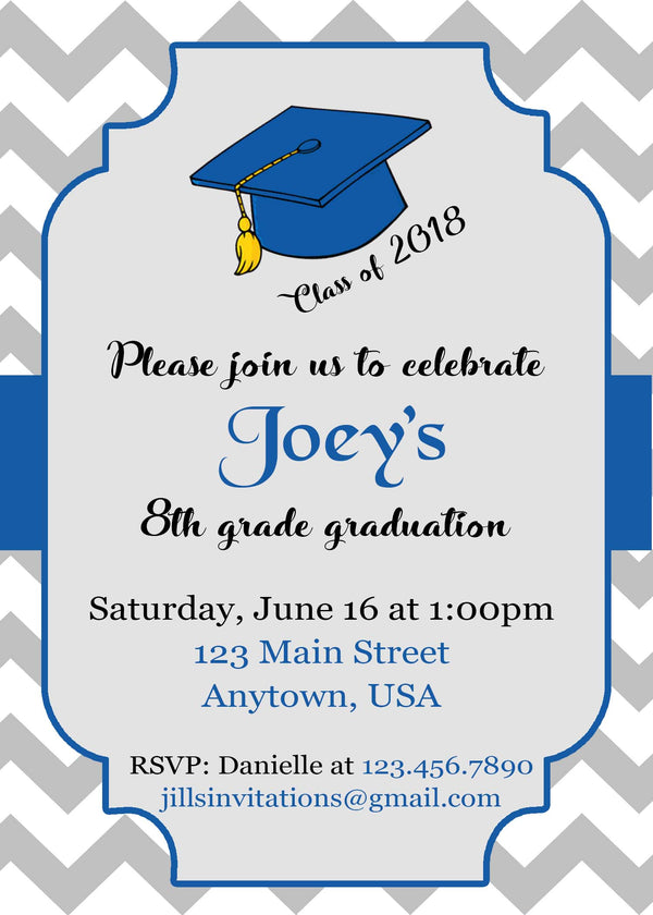 Zig Zag Graduation Invitation, Chevron
