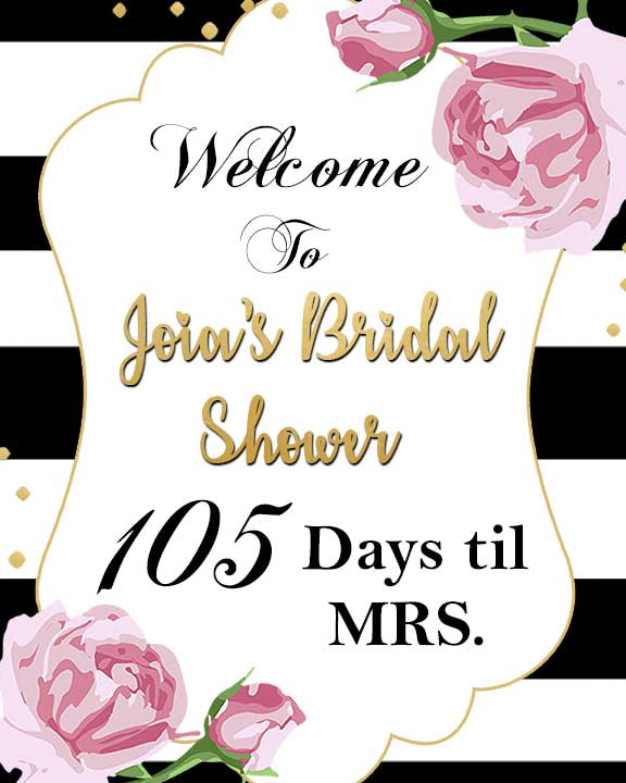 Bridal Shower countdown display sign