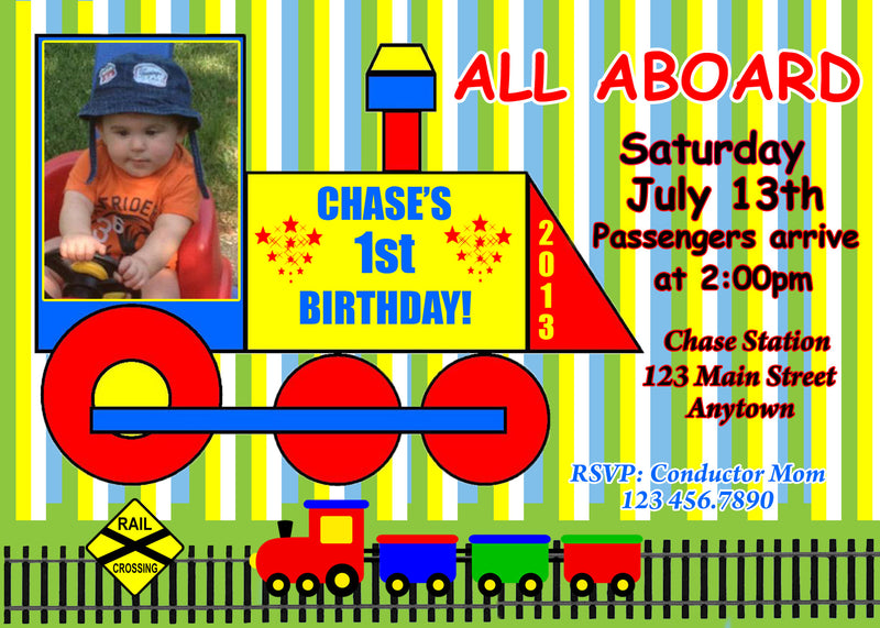 Train Birthday Invitation, Henry