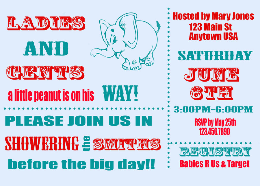 Circus Baby Shower Invitation – Jills Creative Creations
