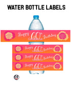 60th Birthday Water Bottle Labels