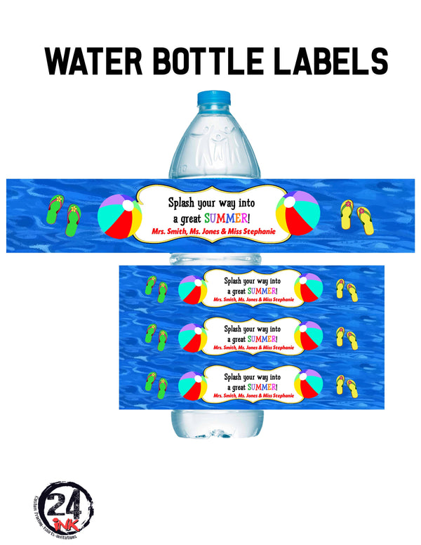 Pool party water bottle labels