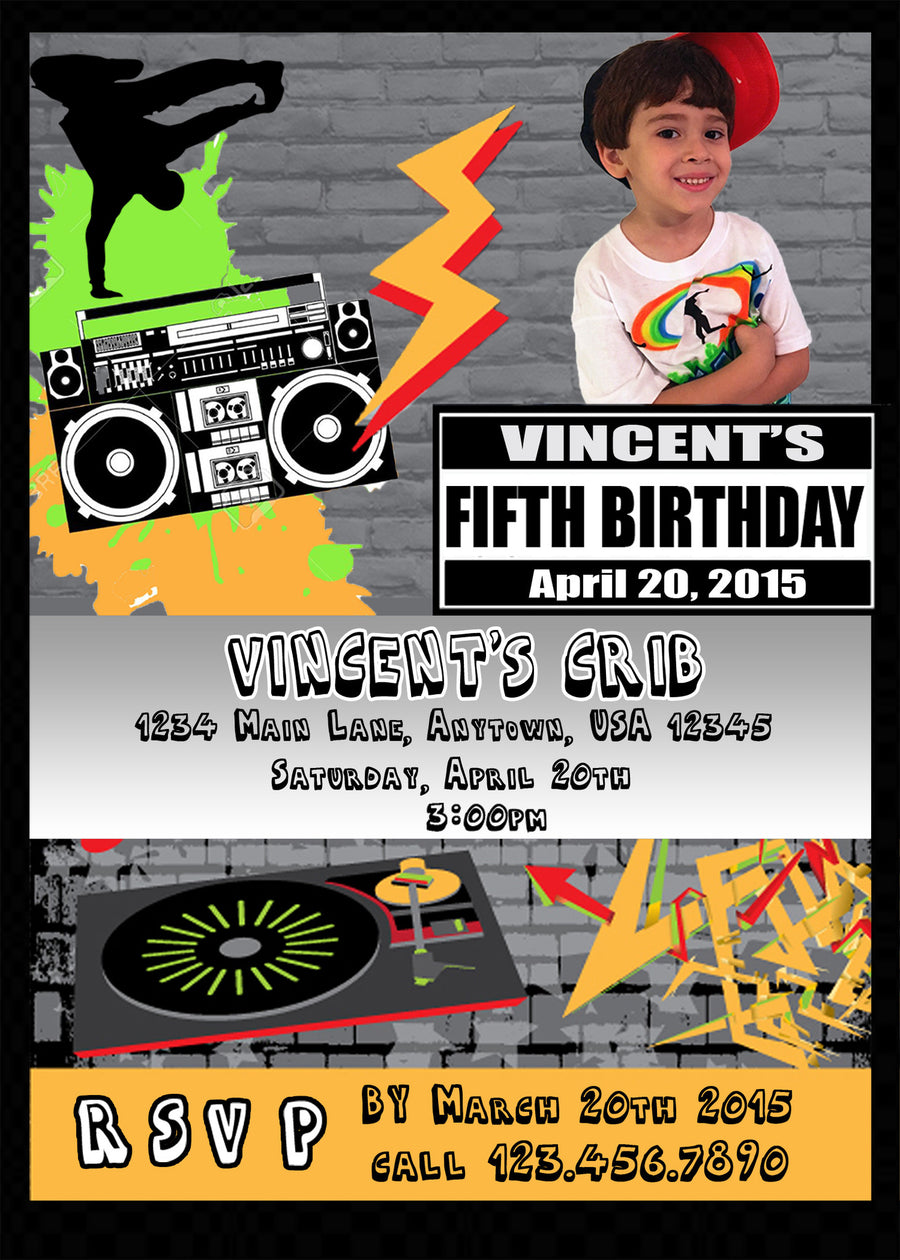 Hip hop Birthday Invitation