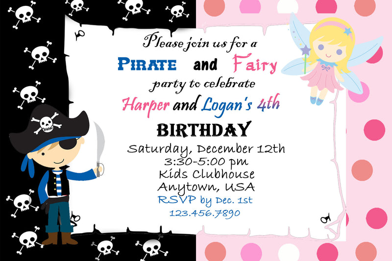 Pirates and Fairy's Birthday Invitation