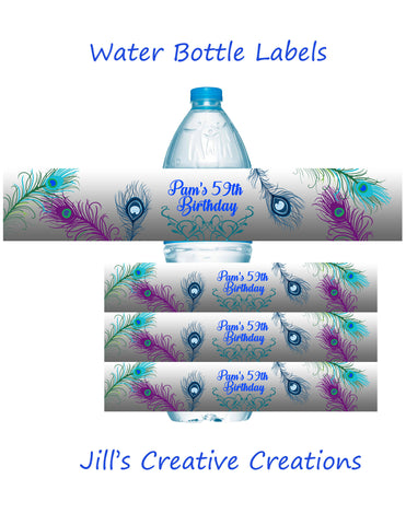 Peacock Water Bottle Labels