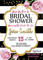 Black and White Stripes Bridal Shower Invitation
