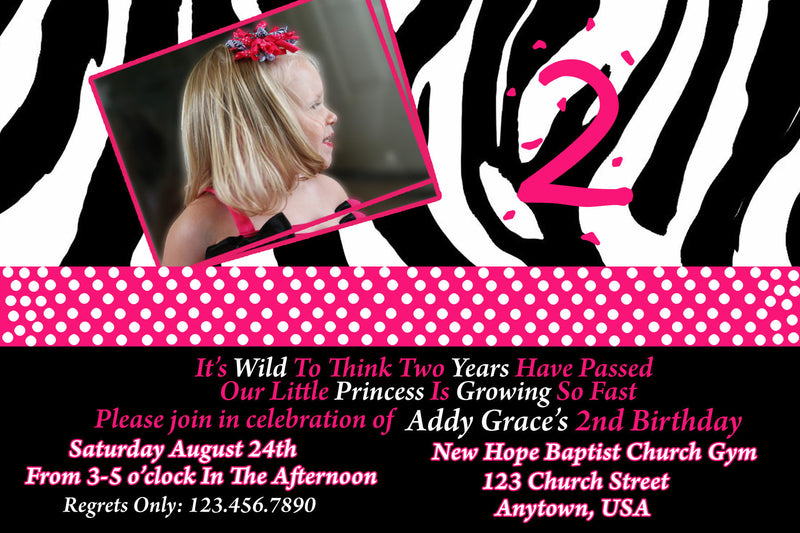 Zebra Birthday Invitation