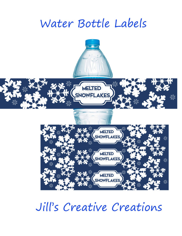 Snowflakes water bottle labels