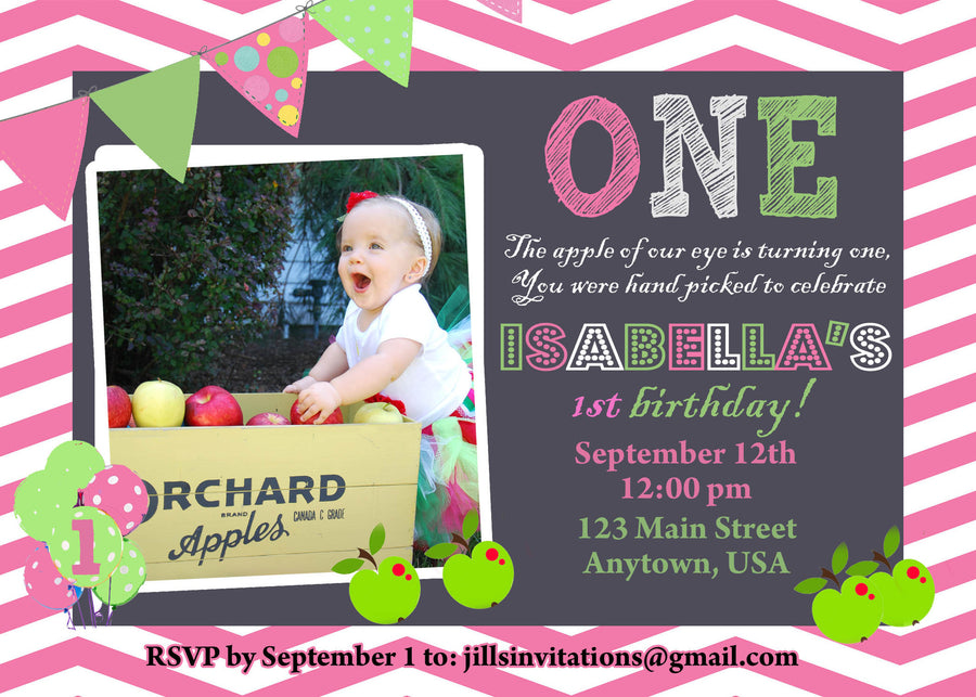 Apple Chevron Birthday Invitation