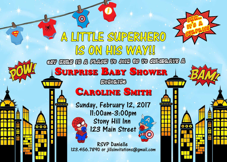 Superhero Baby Shower Invitation – Jills Creative Creations