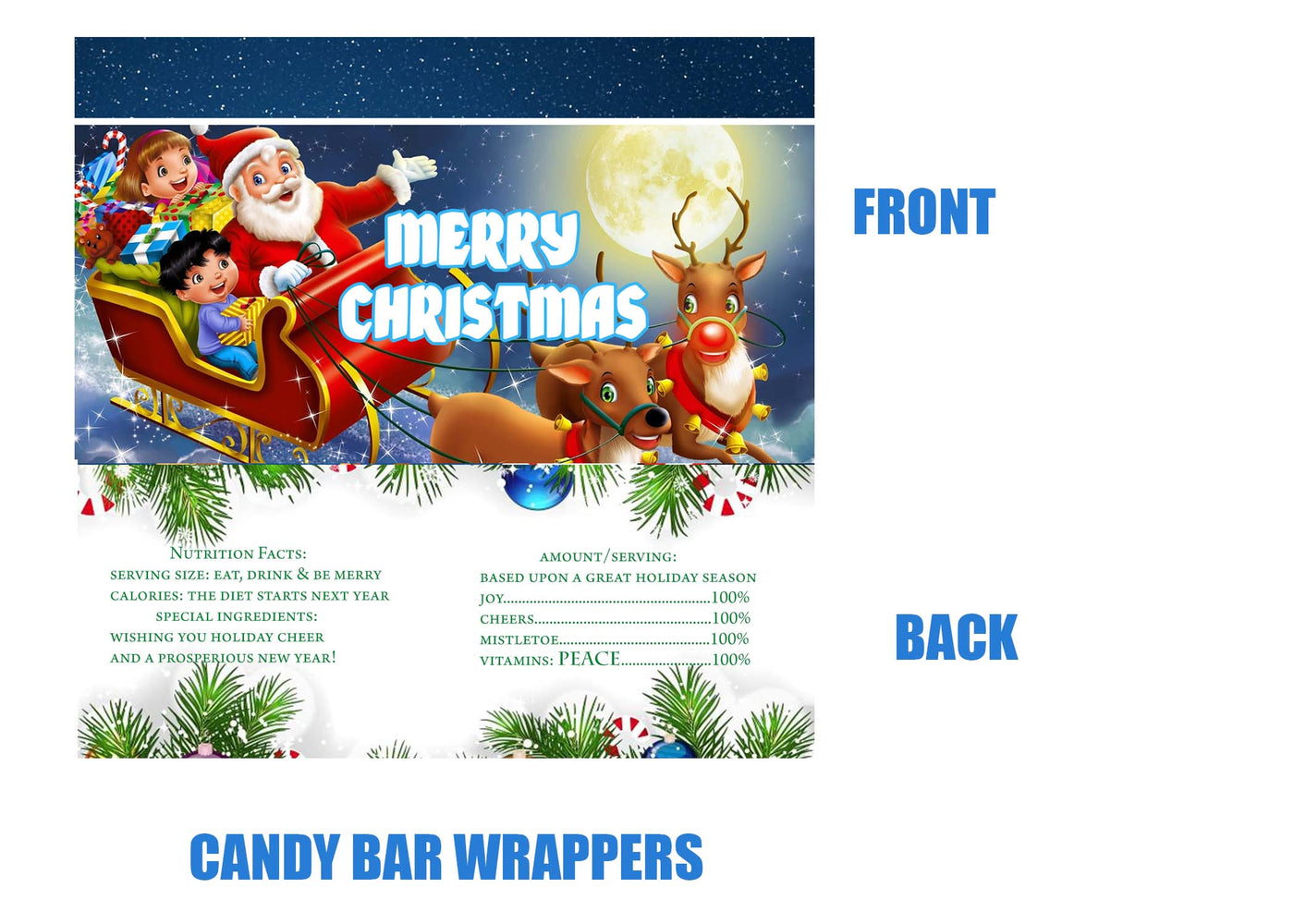 Christmas Candy Bar Wrappers 24 Ink