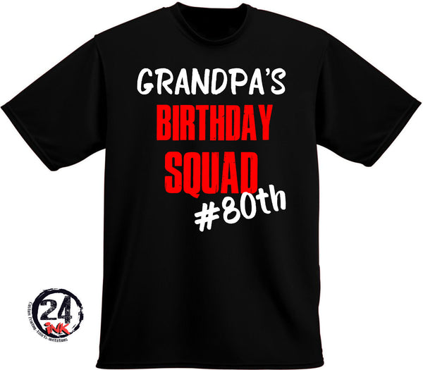 Grandpa's Birthday Squad T-shirt, 80th birthday