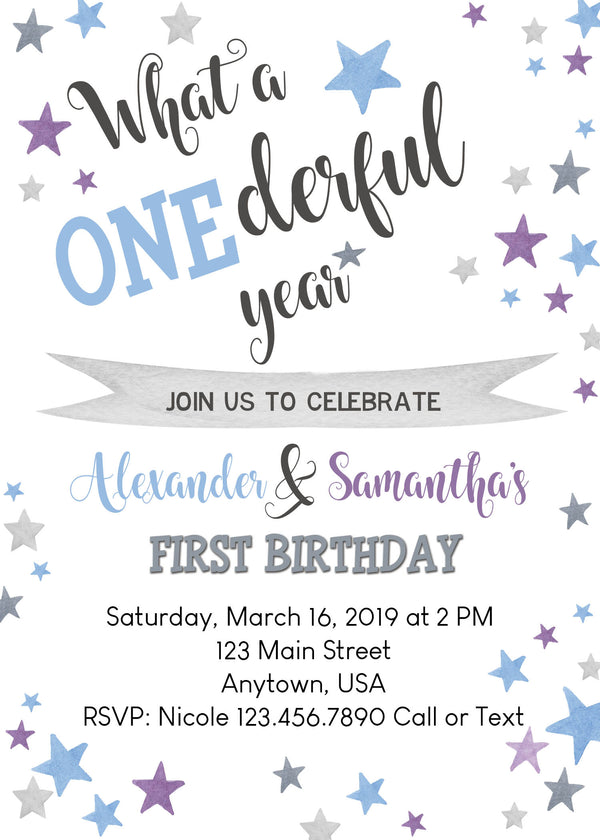 Stars Birthday Invitation, First Birthday