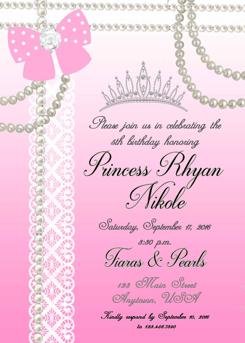 Lace and Pearls Birthday Invitation
