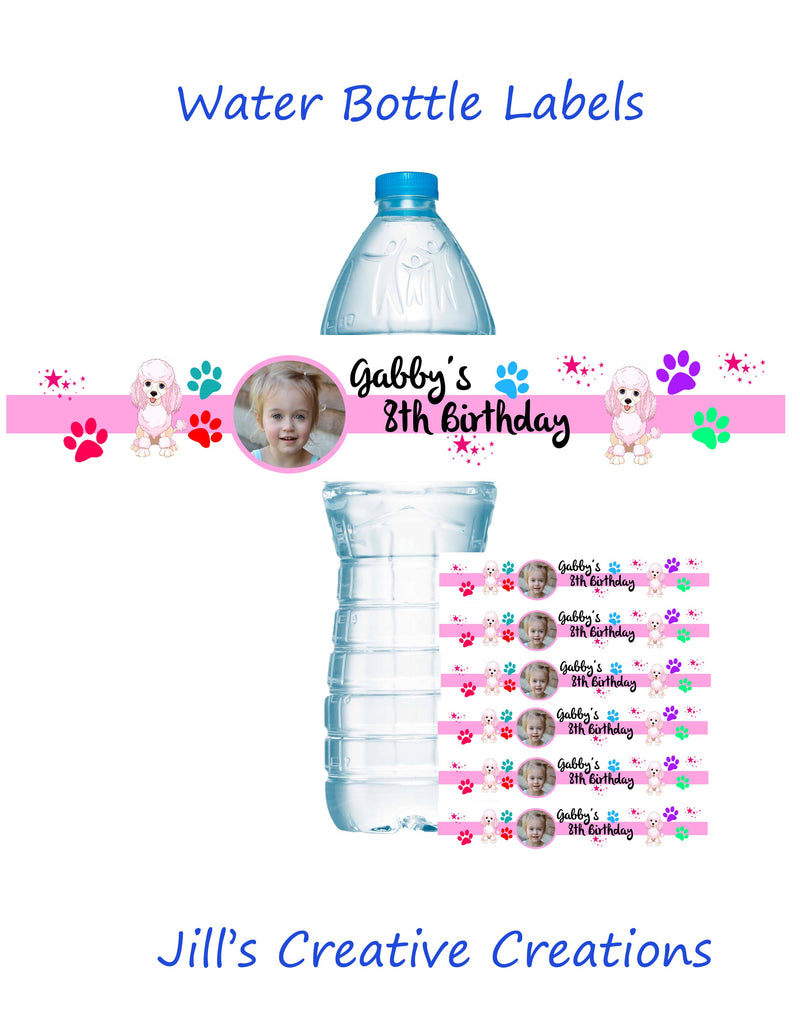 Puppy Party Water Bottle Labels