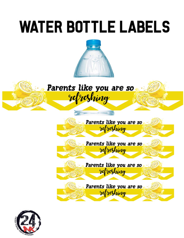 Lemon back to school night water bottle labels
