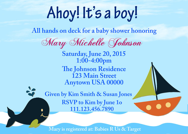 Sailboats Baby Shower Invitation