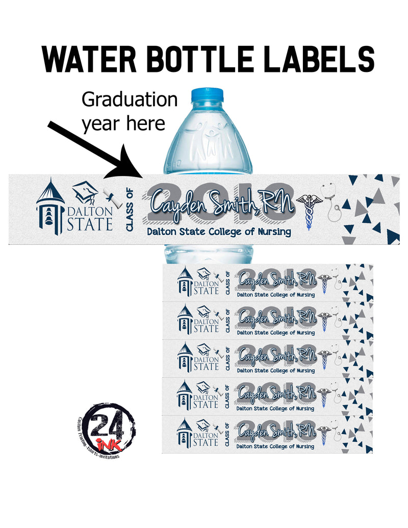 Graduation Water Bottle Labels, White/blue