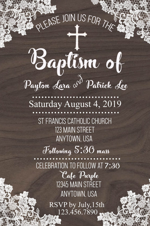 Baptism Lace and Wood Invitation
