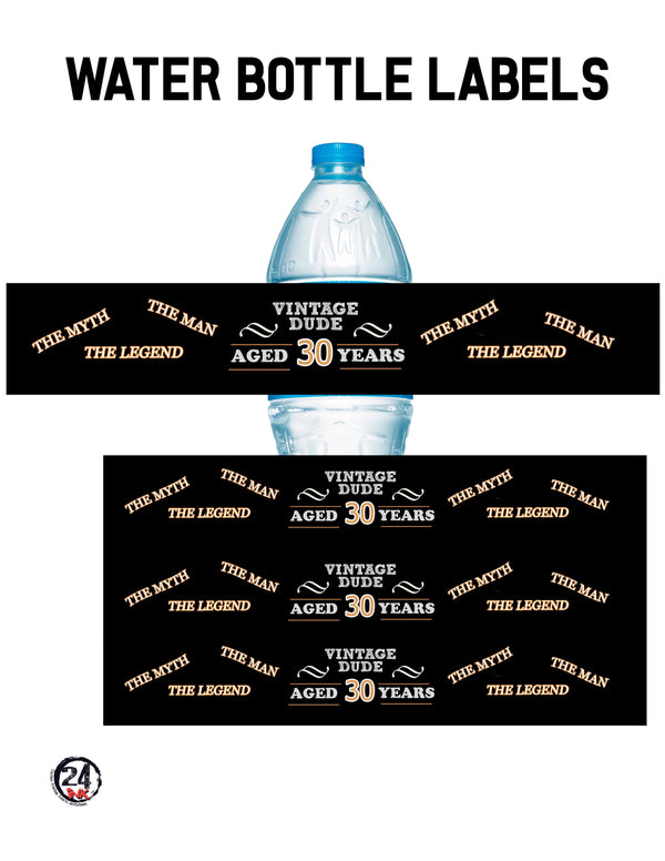 30th Birthday Water Bottle Labels, vintage