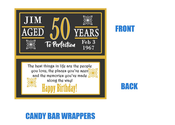 50th candy bar wrappers