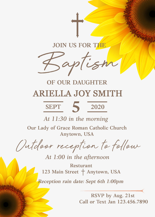 Sunflower Baptism Invitation