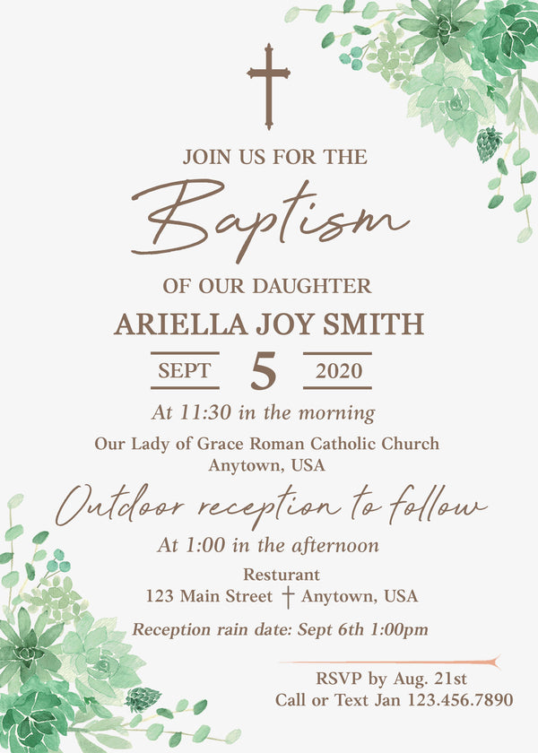 Succulents Baptism Invitation