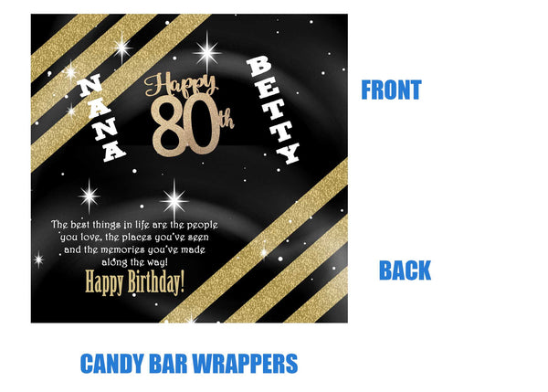 80th birthday candy wrappers