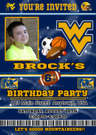West Virginia Birthday Invitation, Football