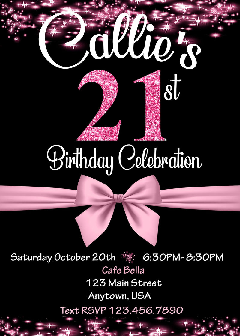 Glitter Birthday Invitation any age, 21st Birthday
