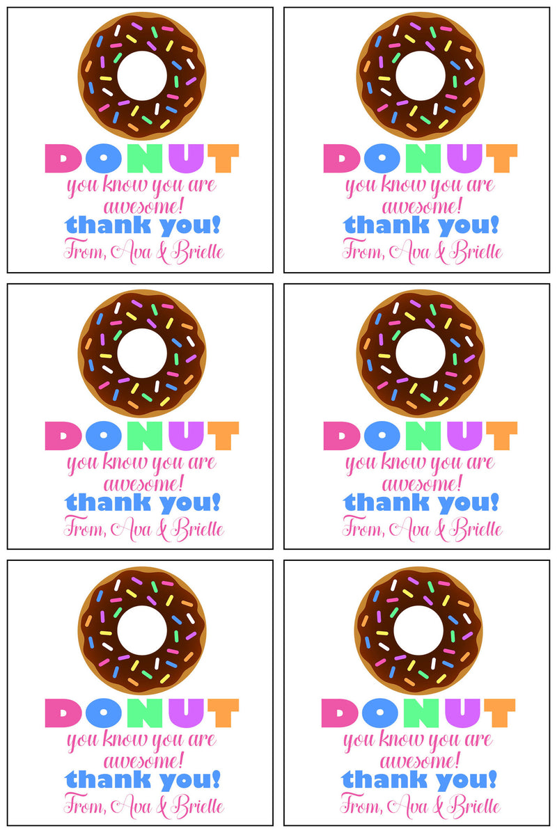Thank You Gift Tags, Donuts