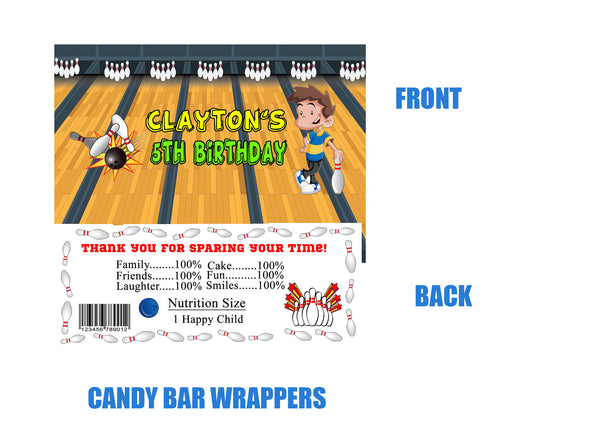 Bowling Candy Bar Wrappers