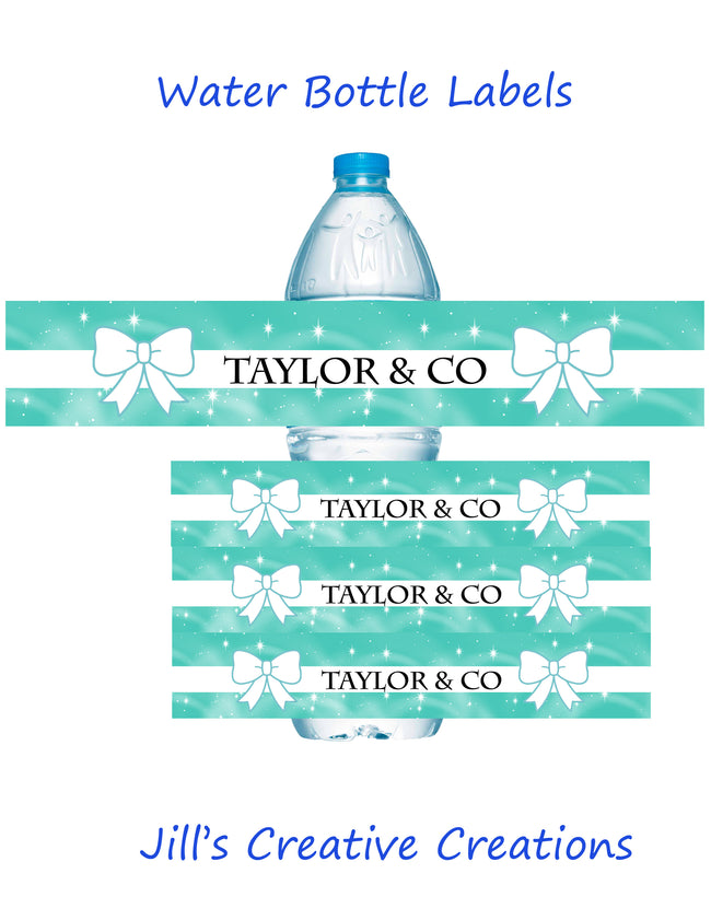 Tiffany's Theme Water Bottle Labels