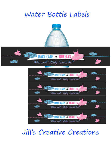 Gender Reveal Water Bottle Labels, Ruffles or race cars
