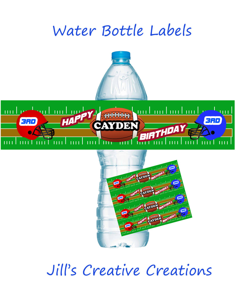Football water bottle labels