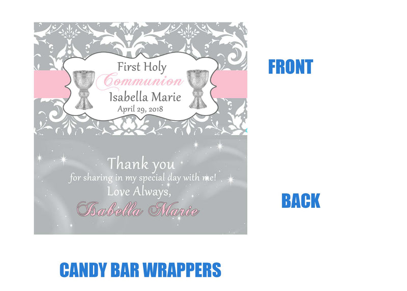 Communion candy bar wrappers, Pink and gray