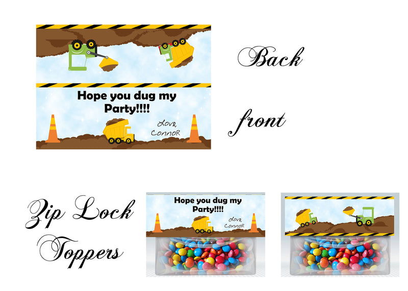 Construction Bag toppers, Gift tags