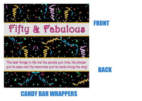 50th Birthday Candy Bar Wrappers, 50 and fabulous