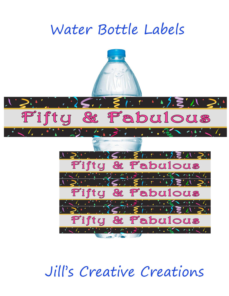 50th Birthday water bottle labels