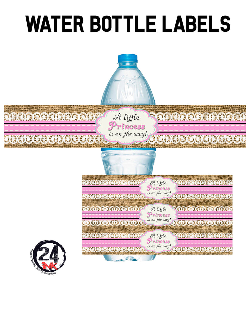 Lace and Burlap Baby shower water bottle labels