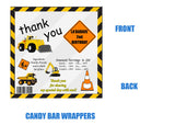 Construction Theme Candy Bar Wrappers