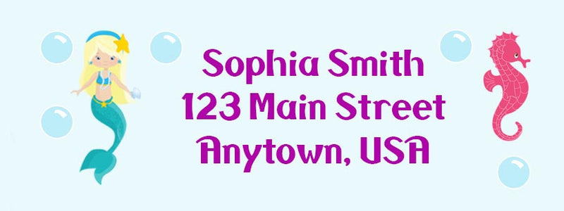 Mermaid Return Mailing Address Labels