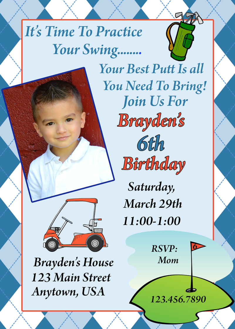 Golf Birthday Invitation