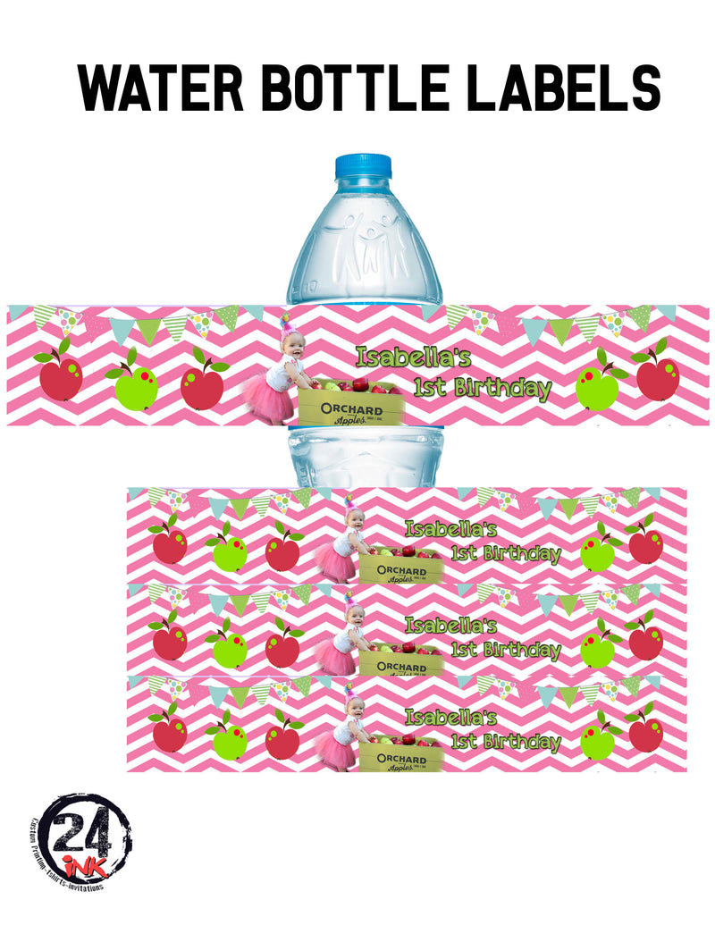 Apples water bottle labels, Apple