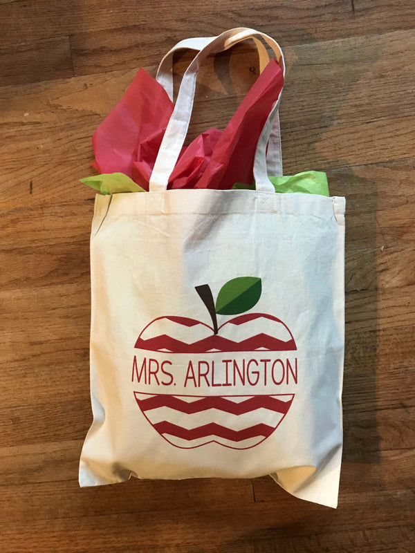Chevron Apple Teacher Tote Bag, Apple