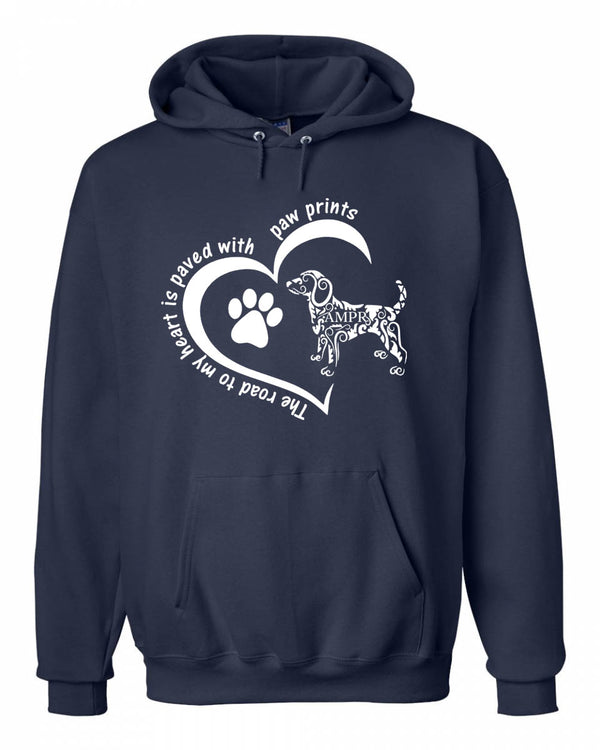 AMPR The road to My Heart Is Paved With Paw Prints Hooded Sweatshirt