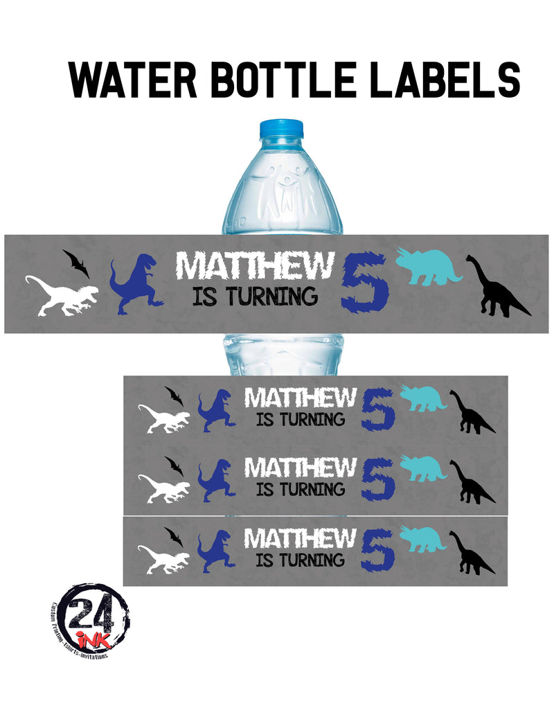Dinosaur Water Bottle Labels, Gray
