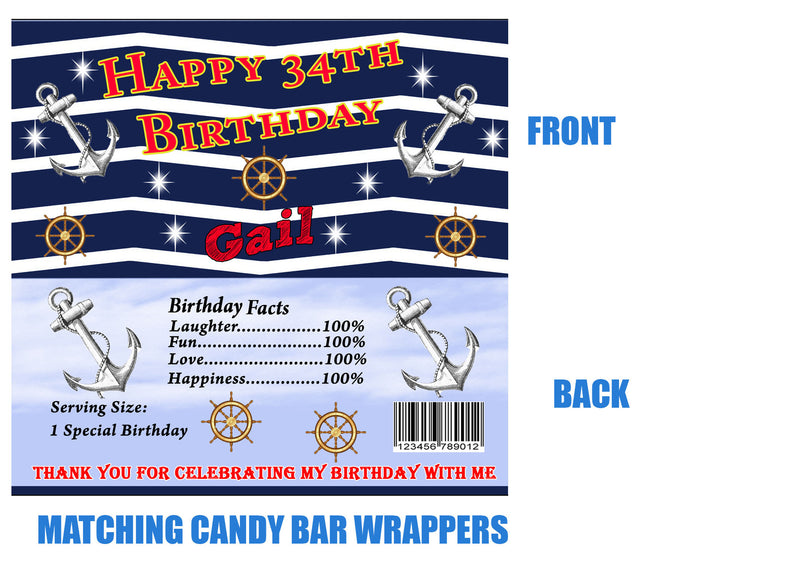 Nautical candy bar wrappers