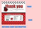 Ladybug candy bar wrappers